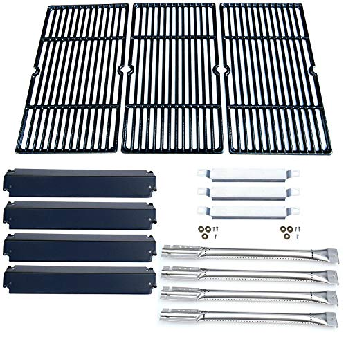 Direct Store Parts Kit DG168 Replacement for Charbroil Commercial 463268107 Grill Repair Kit (SS Burner + SS Carry-Over Tubes + Porcelain Steel Heat Plate + Porcelain Cast Iron Cooking Grid)