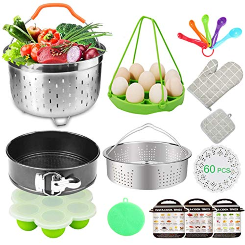 Pressure Cooker Accessories Kit, 72 PCS Accessories for Instant Pot, Fits 5,6,8 Qt Instant Pot Pressure Cooker,2 Steamer Baskets,Springform Pan,Silicone Egg Rack,Egg Bites Mold,Parchment Papers & More