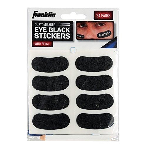 Franklin Sports Eye Black Sticker für Kinder – anpassbare Buchstaben Baseball und Fußballauge, schwarze Aufkleber – weißer Bleistift enthalten – schwarz