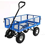 Sunnydaze Utility Steel Garden Cart, Outdoor Lawn Wagon with Removable Sides, Heavy-Duty 400 Pound Capacity, Blue