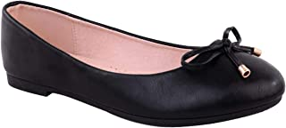 Womens Flat Black Pumps Ladies Girls Dolly Dollie Ballet Ballerina Work Smart Office Formal Comfort Bow Round Toe Slip On Flats Shoes