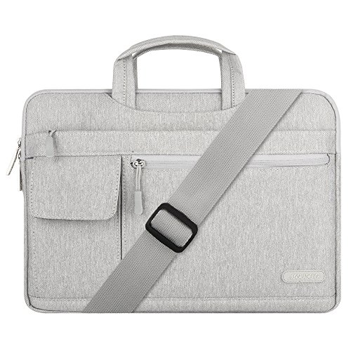 MOSISO Laptop Briefcase Shoulder Bag Compatible with MacBook Pro/Air 13 inch, 13-13.3 inch Notebook Computer, Polyester Flapover Sleeve Case, Gray