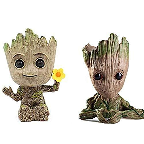 2 Stück Baby Groot Blumentopf Stift Topf PVC Helden Modell Guardians der Galaxie Handwerk Figur zu Hause (Kombination F)