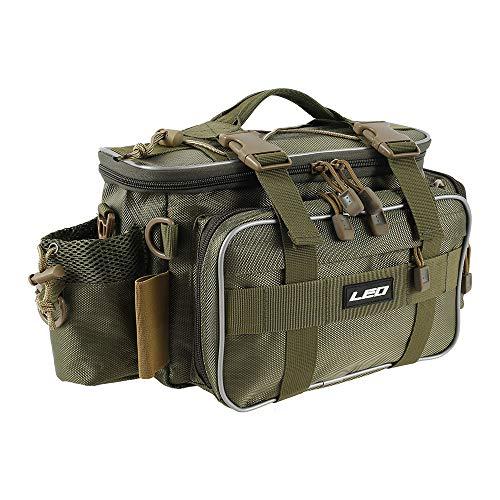 N/T Angeltaschen wasserdichte Aufbewahrungstasche für Angelgeräte mit Großer Kapazität Multi-Pockets 1000D Oxford Cloth Fish Bag mit Verstellbaren Trägern für das Angeln auf Karpfen im Freien (Grün)