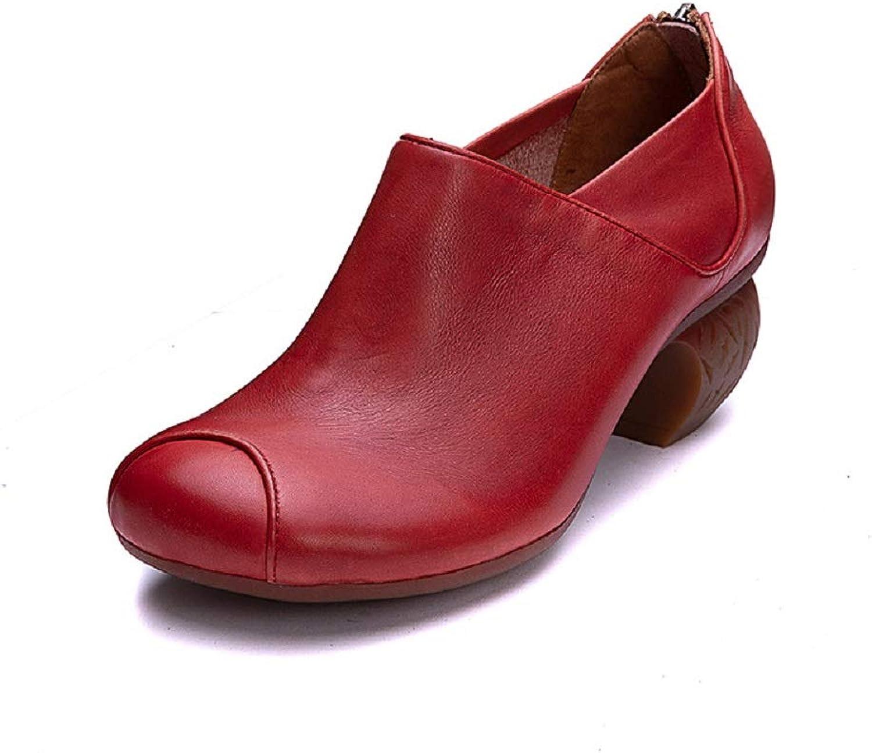 Qiusa Zipper handgemachte Frauen Mary Jane Leder Block Block Block Schuhe (Farbe   Rot, Größe   EU 36)  72bb28