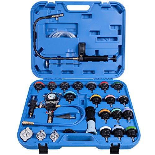 COSTWAY 28-TLG. Kühlsystem Prüfgerät Kühler Drucktester Werkzeug Vakuum Abdrückgerät Prüfer Kühler (Blau)