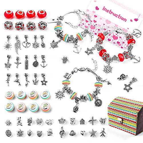 WinWonder Charm Bracelet Kit que hace, 16 Granos 3 Cadenas de serpiente plateadas 35 PCS Accesorios DIY Kit de fabricación de joyas con 1 caja para regalos de artesanía