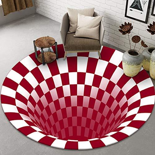 3D Vortex Teppich, 3D Geometrische Optische Täuschung Anti-Rutsch Optische Täuschung Teppich, Schlafzimmer Teppich Mit Tiefloch Stereo Vision Matte,80cm