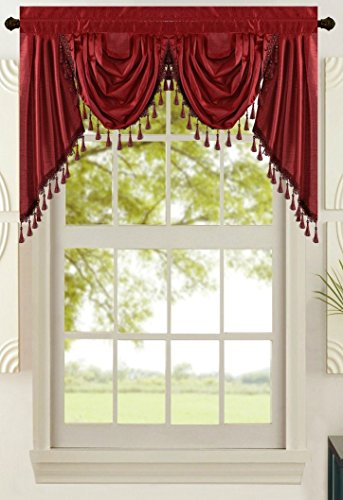 """All American Collection New Attached Solid Faux Silk Double Waterfall Valance with Tails (55"""" x 32"""", Burgundy Valance)"""
