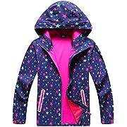 Kids Rain Jackets Lightweight Waterproof Hooded Rain Coats Windbreakers for Girls, Violet, US 8-9 Years=Tag XL