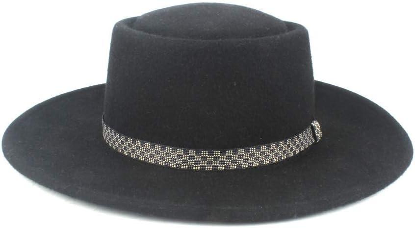 Grossartig Men's Wide Brim Panama Hat Wool Polyester Top Hat Fedora Hat Autumn Winter Jazz Hat Plaid Belt (Color : Black, Size : 56-58)