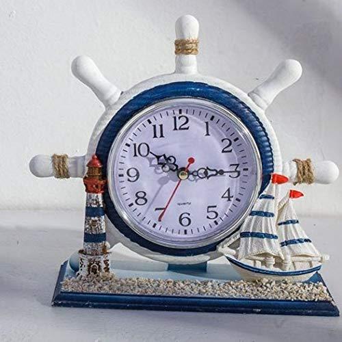 S.W.H Antiker Römischer Stil Shabby Chic Lenkraduhren Silent Sweep Batteriebetriebene Altmodische Schreibtischuhr mit Kleiner Bootsdekoration