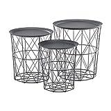 [en.casa] 3er Set Metallkorb Beistelltisch Dunkelgrau Couchtisch mit abnehmbare Tischplatten Sofatisch Tablettisch Wohnzimmertisch 3 Beistelltische