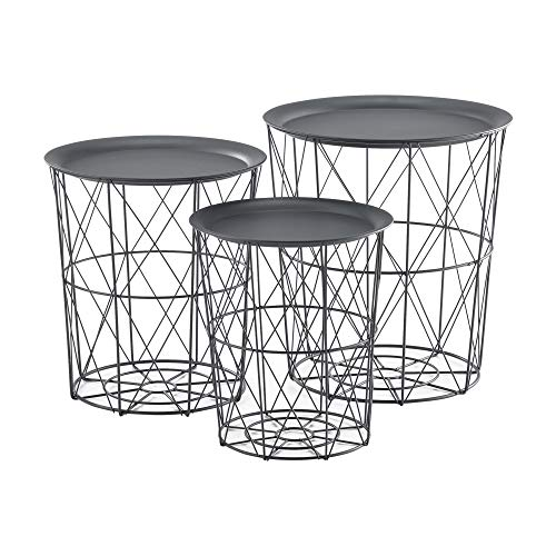 [en.casa] Beistelltisch Metallkorb Couchtisch Sofatisch 3er Set Deko Dunkelgrau
