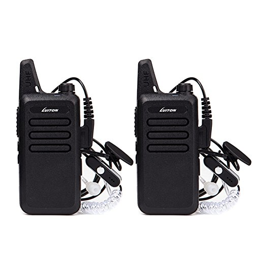 Mini Walkie Talkies with Earpiece Rechargeable 3 Watt for Camping Hiking Playing Outdoor Game by Luiton (Black 2 Packs)