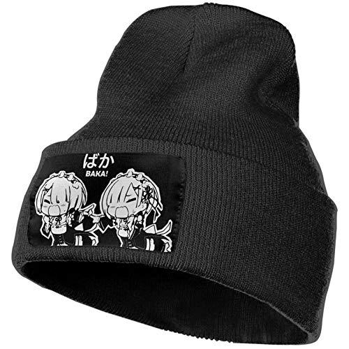 Re Zero Ram Rem Baka Anime Kawaii Merch Winter Warm Beanie Knit Hat Cap for Adult Black