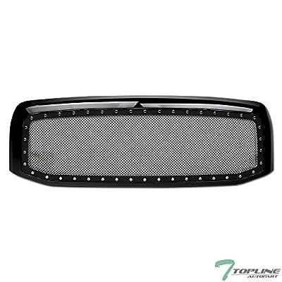 Topline Autopart Glossy Black RVT Rivet Bolt Steel Mesh Front Hood Bumper Grill Grille For 02-05 Dodge Ram 1500/03-05 2500/3500