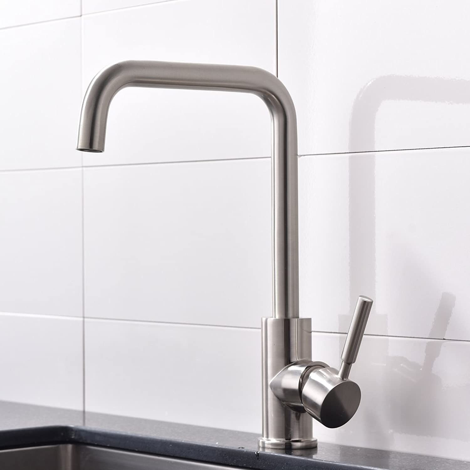 Taps UK Highly Recommended Single Handle Brushed Nickel Finish Spout Swivel Kitchen Mixer Tap, Modern Kitchen Sink Taps