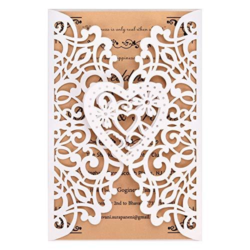 FOMTOR - Inviti di nozze tagliati al laser, confezione da 50 pezzi, con carta stampabile vuota e buste per matrimoni, feste di compleanno, baby shower (bianco)