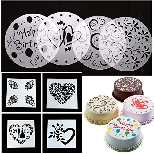 dancepandas Plantillas Tartas Cumpleaños 16PCS Cake Stencil Decorating Amor Flor Plantillas de...