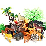 Animal Figurines Toys, 52 Pcs Small Mini Realistic Safari Zoo Plastic Animals Figures Learning Educational Toy Set for Kids Toddlers Jungle Wild Forest Animals Playset Cupcake Topper