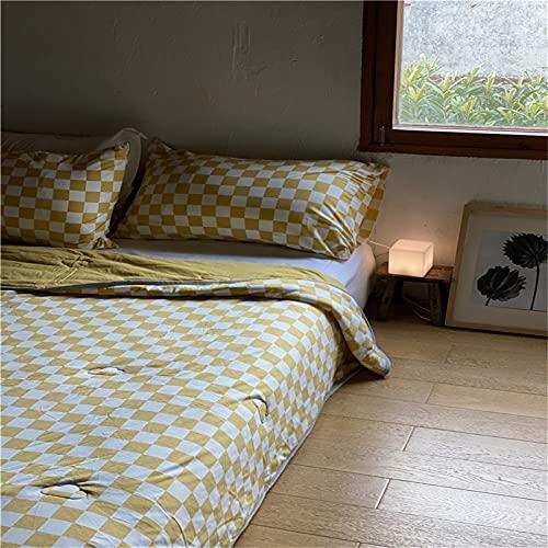 NYYHGS Colcha de verano de punto retro de algodón puro que te permite dormir cómodamente en un lugar de descanso, color amarillo, 78,7 x 90,5 pulgadas (edredón de verano)