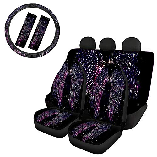 Goyentu Car Seat Cover Bling Full Set,Trendy Angel Wing Design Car Front Back Seat Cover Blanket with Universal 15 Inch Steering Wheel Cover & Seat Belt Cover for Car SUV Sedan Truck