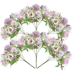 Lopbinte 6 Pack Artificial Flowers, Fake Faux Peony Silk Hydrangea Plastic Carnations Daisy Realistic Flower Arrangements