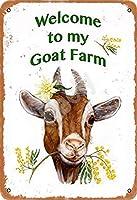My Goat Farmへようこそメタルヴィンテージティンサインウォールデコレーションインチカフェコーヒーバーレストランパブマン洞窟装飾