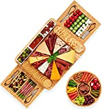 Stedware Charcuterie Cheese Board & Knife Set, Extra Large Bamboo Platter - Wooden Tray, Bowls & Plate for Serving Cheese, Wine, Meat, Appetizers - for Parties, Wedding, Housewarming, Birthday Gift