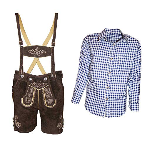 MS-Trachten Trachtenset Kinder Lederhose Trachtenhose mit Hemd (116, blau-kariert)