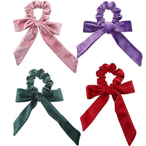 WELROG 4 Stücke Frauen Haar Haargummis Haar Krawatten Kopfverpackung Gummibänder Haar Zubehör (Rosa/Rot/Lila/Grün)