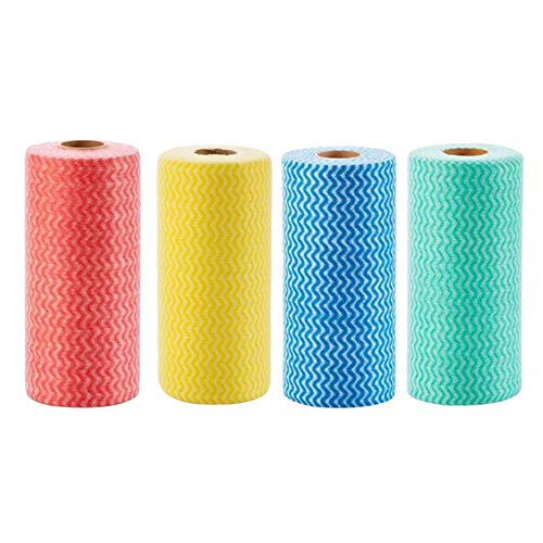 Heritan Toallas de limpieza desechables de cocina, como un paño, varios usos, no tejidos, lavables, reutilizables (4 rollos = 200 hojas)
