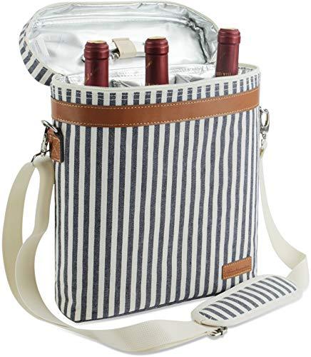ZORMY 3 Flaschen isolierte Weintasche Kühltasche, tragbarer Weinträger mit Korkenzieheröffner und Schultergurt für Strandreise-Picknick, einzigartiger Weinträger für Weinliebhaber Geschenke (Streifen)