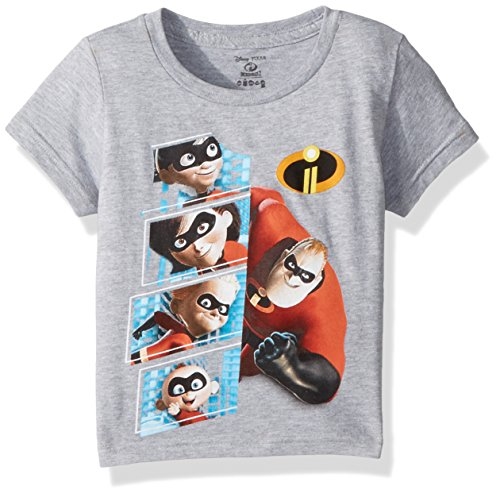 Disney Kids' Toddler Incredibles 2 Character Panel Short Sleeve T-Shirt, Heather Grey, 4T
