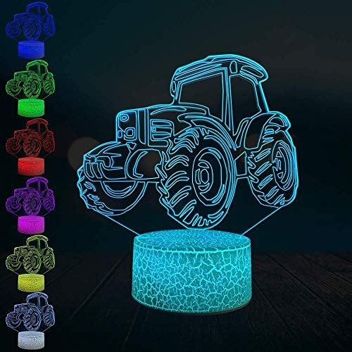Creative Tractor SUV ATV 3D Lamp USB Led Mood Night Light Multicolor Touch Or Remote Control Glow Change Table Boy Toy