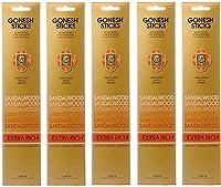 【5個セット】 GONESH(ガーネッシュ) お香 インセンス スティック エクストラリッチ サンダルウッド (白檀の香り) 20本入
