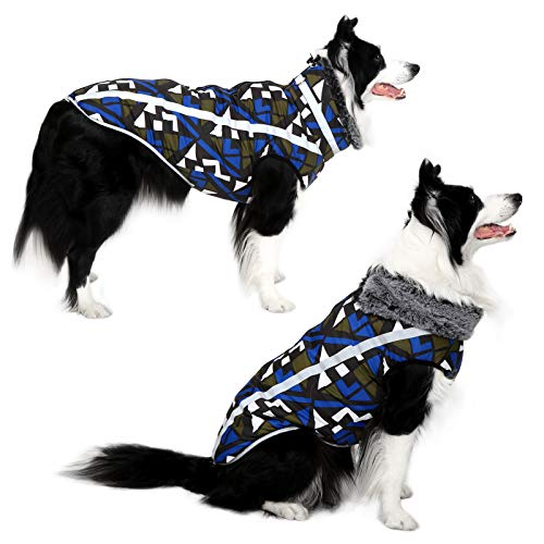 Dog Jacket - Cozy Snow-Proof Wind-Proof Geometric Winter Dog Coat with Adjustable Furry Collar, Pet Vest Reflective Dog Jackets for Small Medium Large Dogs, Sturdy Leash D Ring for Walking(GB3XL)