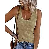 Camiseta Mujer Sexy Sin Mangas Cuello U Básicas Blusas Mujer Ajustada Color Sólido Shirt Mujer Viaje Playa De Arena Verano Tops Mujer N-Khaki M