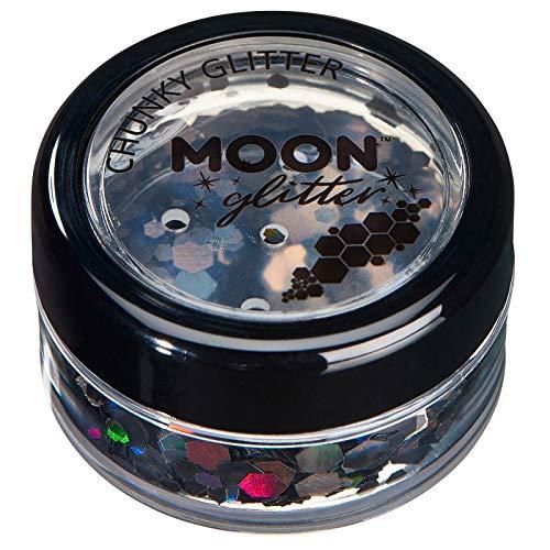 Paillettes holographiques rondes par Moon Glitter (Paillette Lune) – 100% de paillettes cosmétique pour le visage, le corps, les ongles, les cheveux et les lèvres - 3g - Noir