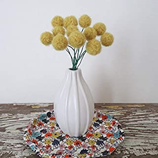 Mustard Straw Yellow Wool Pom pom Flowers. Fake Craspedia Flowers. Felted Wool Billy Balls, Buttons. Small Modern Bouquet. Round Flowers