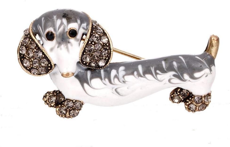Cngstar 1pcs Woman Dachshund Dog Brooches Rhinestone Alloy Animal Dog Brooch Jewelry,White