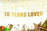 16 Years Loved Banner sweet 16 16th birthday party birthday decor Gold banner 16th birthday party party banner photo props sweet sixteen decorations anniversary decor gifts under 16