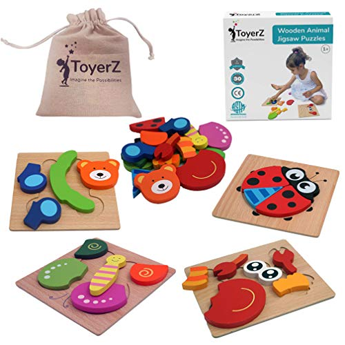 ToyerZ Wooden Toddler Puzzles, Educational Toy for 1 2 3 Years old Boys & Girls Baby Infant ,4 Animal Jigsaw Shapes in an Eco Friendly Gift Box. Colourful STEM Montessori Kids Toys For Learning