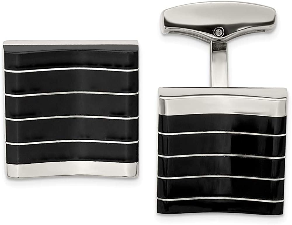 FB Jewels Solid Stainless Steel Polished Black Cat'S Eye Square Cuff Links