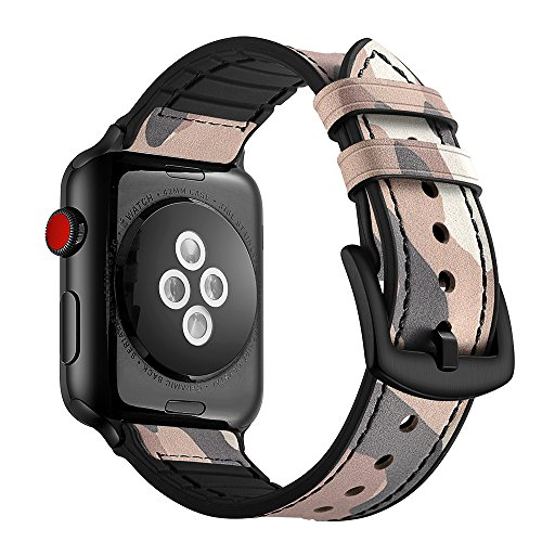 Aottom Compatible for Apple Watch Band 40mm 38mm Leather Silicone Hybrid Vintage Sweatproof Breathable Bracelet Wristband Replacement Band for 40mm 38mm iWatch Series SE/6/5/4/3/2/1, Camouflage Pink