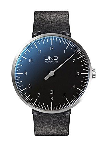 Botta-Design UNO+ Automatik Armbanduhr - Einzeigeruhr, Edelstahl, Lederband (44 mm, Carbon)