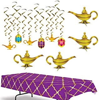 Beistle Arabian Nights Party Decorations Kit with Tablecover, Whirls, and Lamp Centerpieces