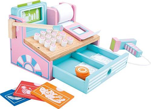 Small Foot 3125 Caisse en bois pour boutique marchande, avec scanner, argent fictif, lecteur de cartes et rouleau de caisse enregistreuse, à partir de 3 ans