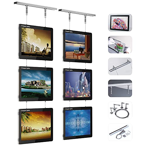 Double Side Real Estate LED Poster Frame-Led Window Sign Acrylic Crystal Menu Light Box for Office Restaurant Store Backlit Advertising Display—12V/36W with cUL Listed and Hanging system(3 pcs/lot)